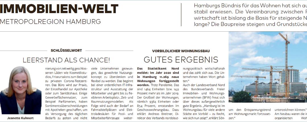 """Schlüsselwort in der Welt am Sonntag – """"Leerstand als Chance!"""" von Jeanette Kuhnert"""